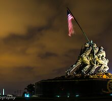 Iwo Jima Memorial with lightning stick in backgroud by chrisfb1