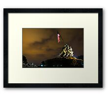 Iwo Jima Memorial with lightning stick in backgroud Framed Print
