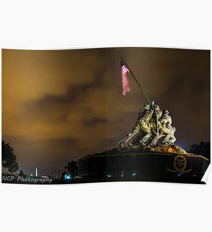 Iwo Jima Memorial with lightning stick in backgroud Poster