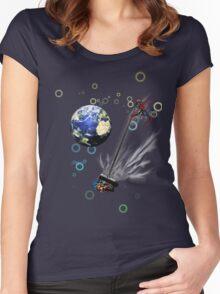 Captain planet rids the world of Batman & Robin & Jonas Bros! Women's Fitted Scoop T-Shirt