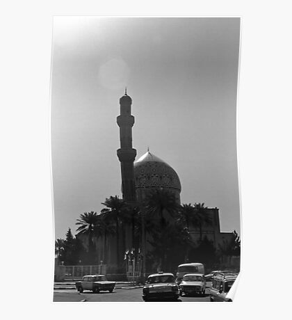 BW Iraq Baghdad mosque taxis 1970s Poster
