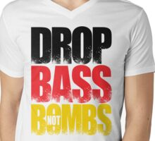 Drop Bass Not Bombs (Germany) [Stencil Series] Mens V-Neck T-Shirt