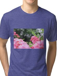 Painterly Pink Wild Roses with Green White Swirls 2 Tri-blend T-Shirt