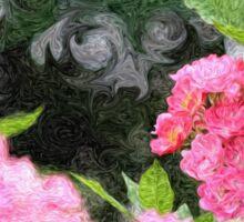 Painterly Pink Wild Roses with Green White Swirls 2 Sticker