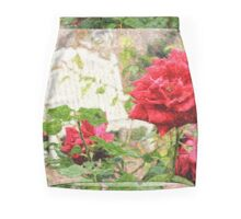 Beautiful Red English Roses with White Bench Mini Skirt