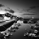 Night photography - B & W of Carnlough. by Fred Taylor