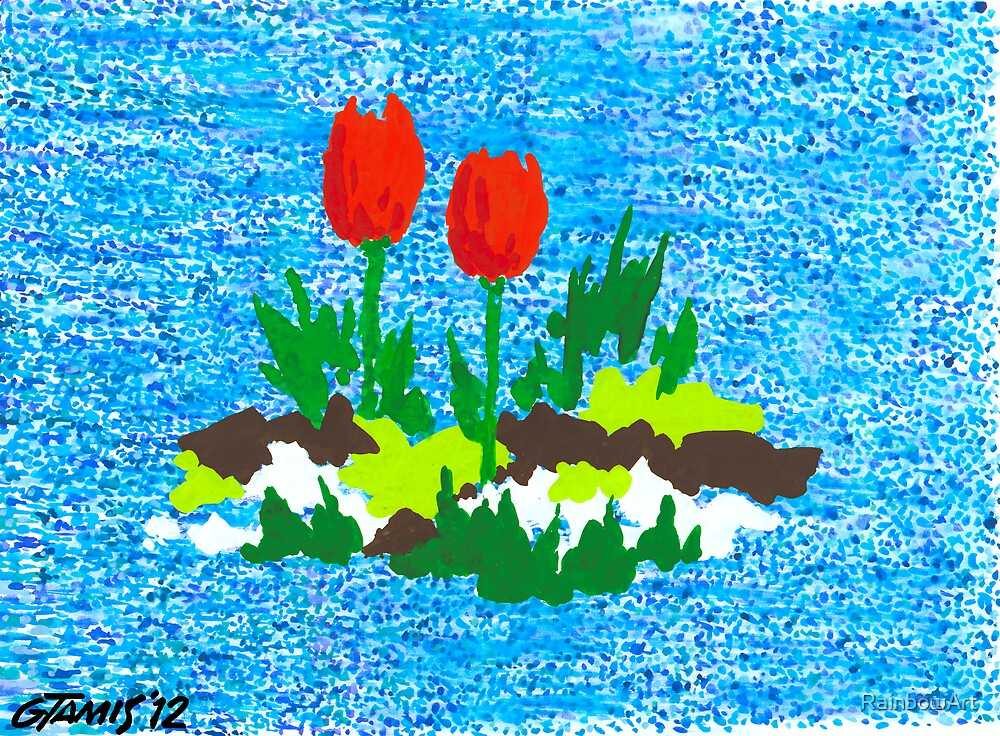 FUN WITH RED TULIPS by RainbowArt