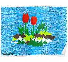 FUN WITH RED TULIPS Poster