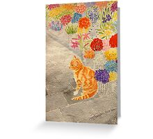 The Flower Seller's Cat Greeting Card
