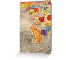 The Flower Seller's Cat Greeting Card