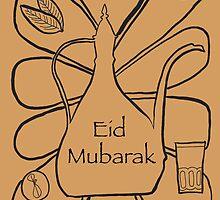 Moroccan Tea Eid Illustration - Middle Eastern Card by springwoodbooks