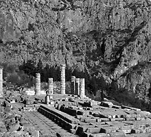 BW Greece Delphi Apollo Temple 1970s by blackwhitephoto