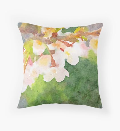 White Cherry Blossoms Digital Watercolor Painting 2 Throw Pillow