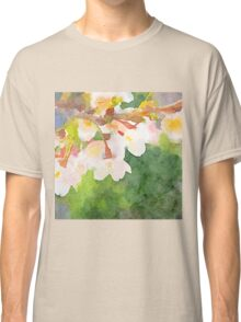 White Cherry Blossoms Digital Watercolor Painting 2 Classic T-Shirt