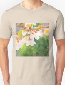 White Cherry Blossoms Digital Watercolor Painting 2 T-Shirt