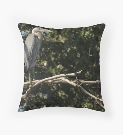 Great Blue Heron on the Wisconsin River Throw Pillow