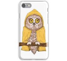 Little owl in yellow raincoat iPhone Case/Skin