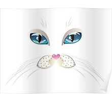 White Cat Face with Blue Eyes Poster