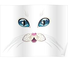 White Cat Face with Blue Eyes 2 Poster