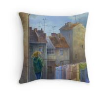 Spring in old town Throw Pillow