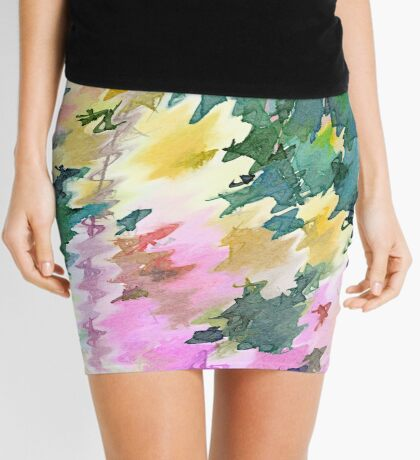 Welcome Spring Abstract Floral Digital Watercolor Painting 4 Mini Skirt
