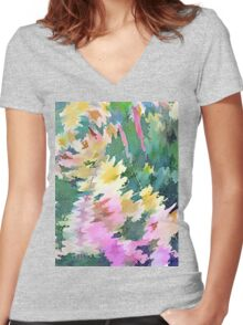 Welcome Spring Abstract Floral Digital Watercolor Painting 4 Women's Fitted V-Neck T-Shirt