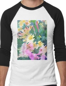 Welcome Spring Abstract Floral Digital Watercolor Painting 4 Men's Baseball ¾ T-Shirt