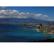 View of Waikiki Beach from top of Diamond Head State Monument Photographic Print