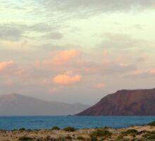 The 3 island sundown towards east Sticker