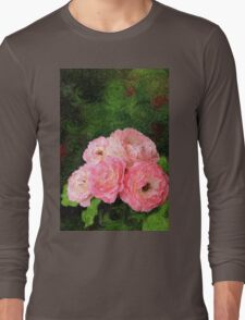 Pretty Pink Painterly Roses with Green Background Long Sleeve T-Shirt