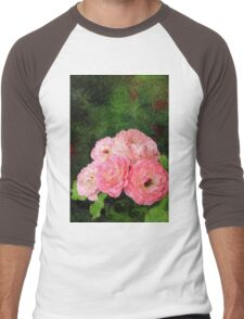 Pretty Pink Painterly Roses with Green Background Men's Baseball ¾ T-Shirt
