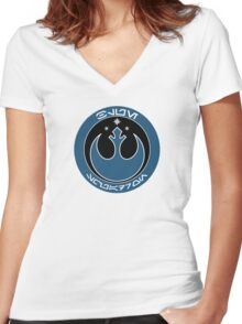 Star Wars Episode VII - Blue Squadron (Resistance) - Insignia Series Women's Fitted V-Neck T-Shirt