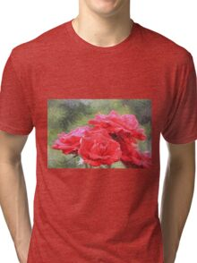 Painterly Red English Roses with Green Swirls Tri-blend T-Shirt
