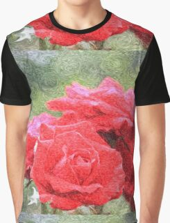 Painterly Red English Roses with Green Swirls Graphic T-Shirt