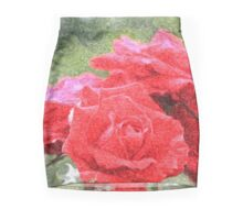 Painterly Red English Roses with Green Swirls Mini Skirt