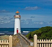 Griffith Island lighthouse at Port Fairy by Roger Neal
