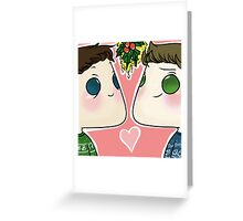 Dean/Castiel - Mistletoe Greeting Card