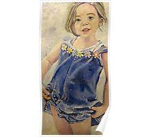 little girl in denim Poster