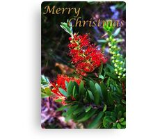 Merry Christmas Bottlebrush Card Canvas Print