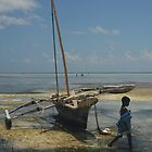 Girl and fishing boat, Zanzibar island by Konstantin Zhuravlev