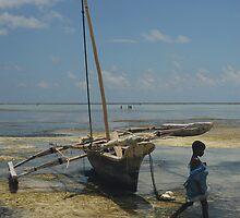 Girl and fishing boat, Zanzibar island by Konstantin Zhuravlev