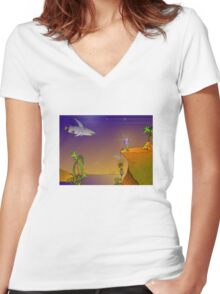 Future Scape Women's Fitted V-Neck T-Shirt