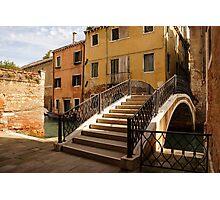 Venice, Italy - Intricate Wrought Iron Bridge Photographic Print
