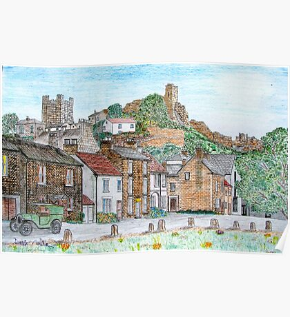 Graphite and Coloured Pencil Drawing of  Richmond, Yorkshire  Poster