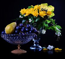 Yellow roses and fruits by torishaa