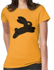 Jumping Black Bunny Womens Fitted T-Shirt