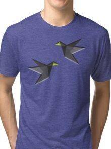 Black and White Paper Cranes Tri-blend T-Shirt