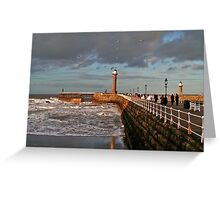Whitby West Pier Greeting Card