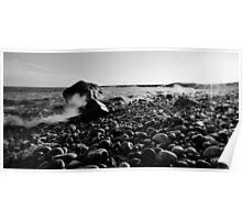Black and White Wave Crash Poster