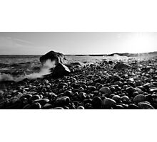 Black and White Wave Crash Photographic Print